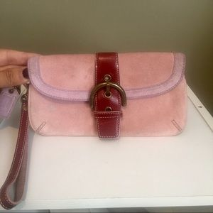 Coach Pink Suede W/Leather Trim Wristlet